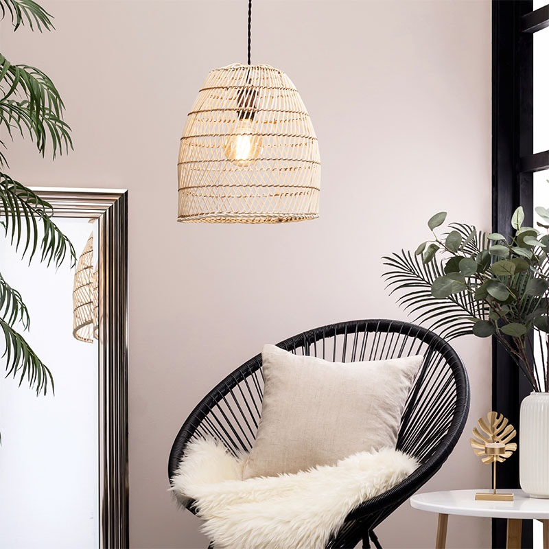 Rattan Tall Dome Easyfit Shade in Bleached Natural