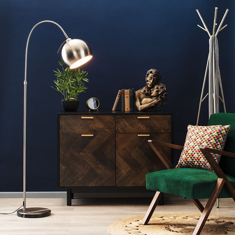 benson curved floor lamp in satin nickel