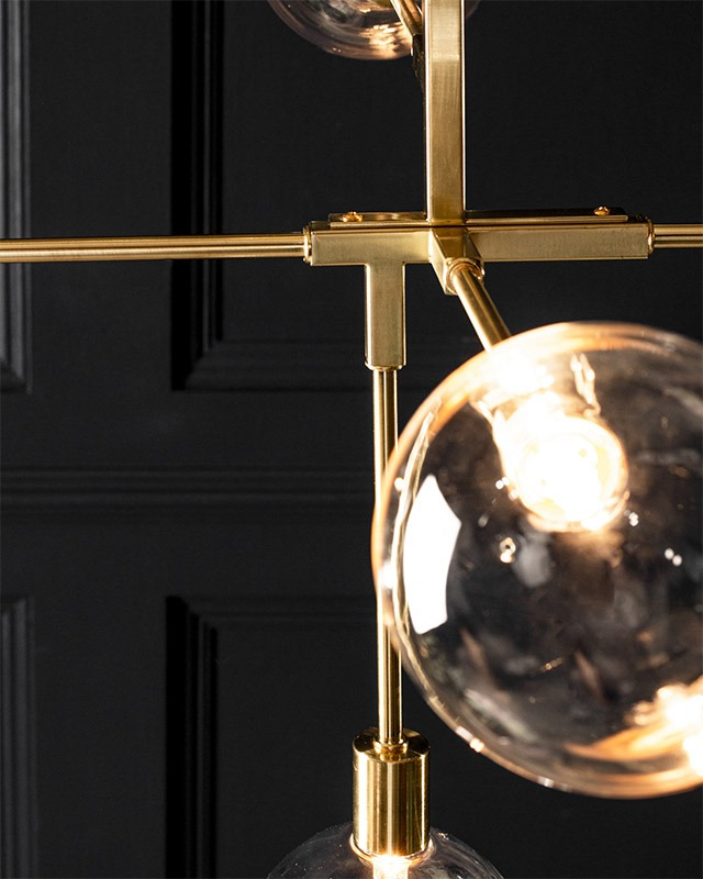 Hennock Ceiling Light in Brass