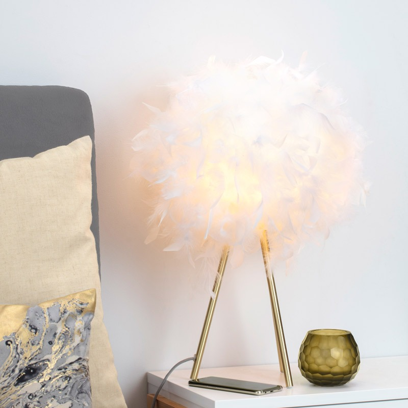 Plume Feather Tripod Table Lamp