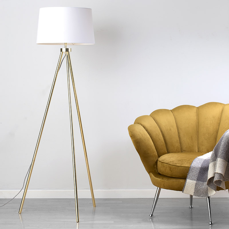 Tristan Tripod Floor Lamp in Brass