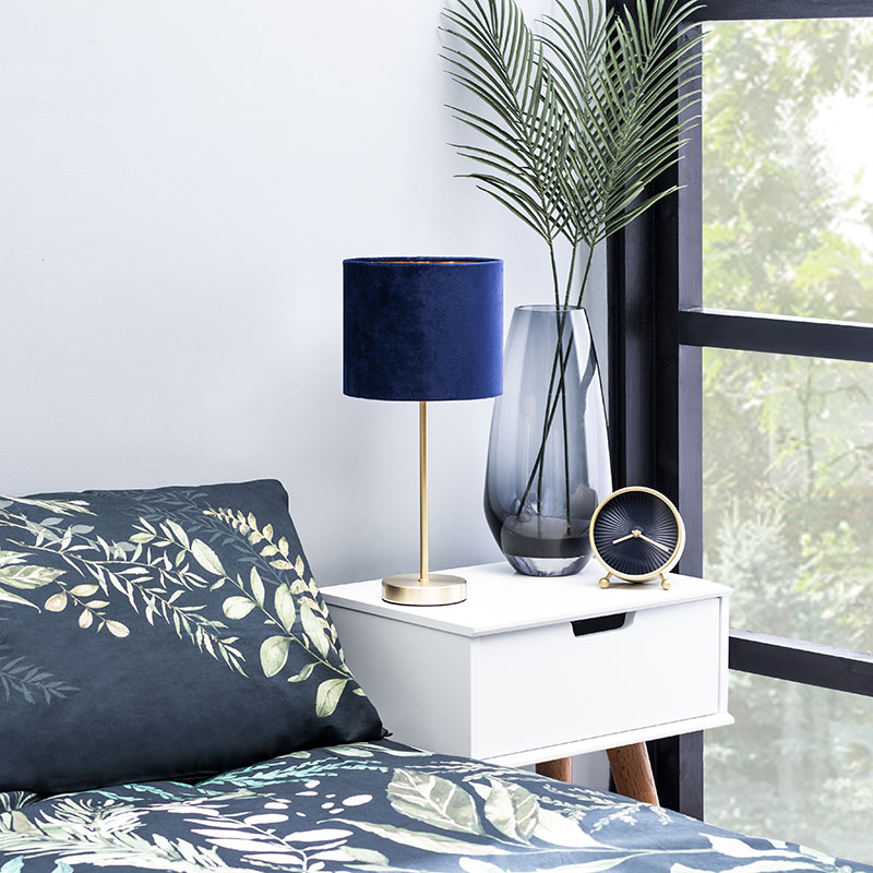 Velvet Table Lamp in Navy and Brass
